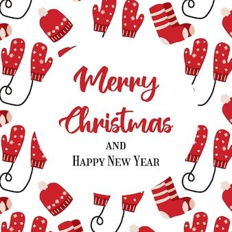 Ręcznie rysowane kartki świąteczne z rękawiczkami skarpetki świąteczny plakat
