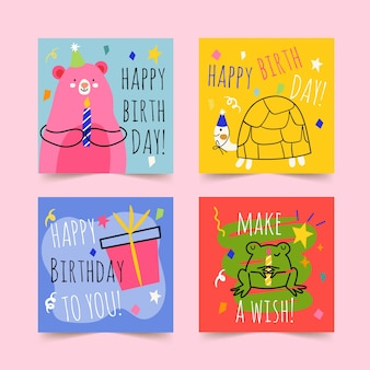 Ręcznie rysowane kartki z życzeniami wszystkiego najlepszego