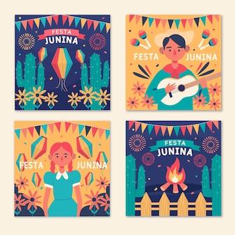 Ręcznie rysowane karty festa junina ustawić szablon