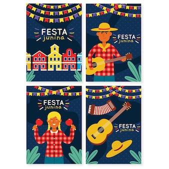 Ręcznie rysowane karty festa junina z ludźmi grającymi