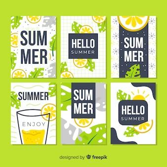 Ręcznie rysowane karty letnie