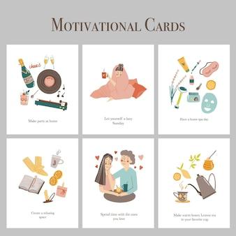 Ręcznie rysowane karty motywacyjne