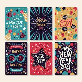 Ręcznie rysowane karty nowego roku 2021