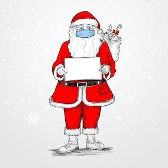 Ręcznie rysowane karty szkic cshristmas santa claus