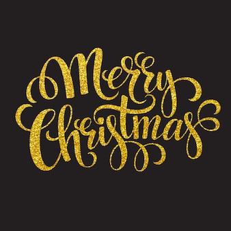 Ręcznie rysowane karty typografii. wesołych świąt pozdrowienia złoty brokat ręcznie napis, karty z pozdrowieniami.