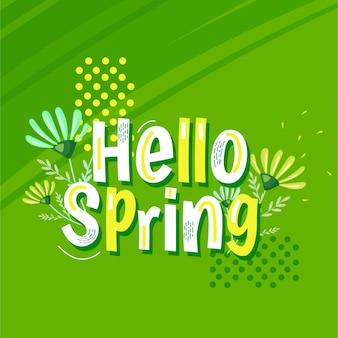 Ręcznie rysowane karty wiosna z napisem i kwiatami