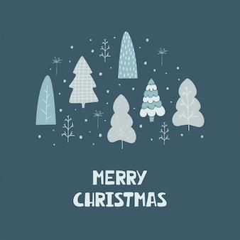 Ręcznie rysowane karty z choinki i napis wesołych świąt