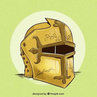 Ręcznie rysowane kask rycerza