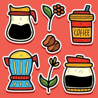 Ręcznie rysowane kawa kreskówka doodle projekt naklejki