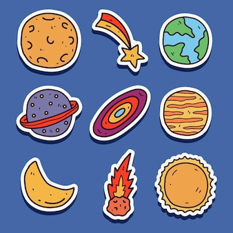 Ręcznie rysowane kawaii doodle projekt naklejki planety kreskówki