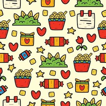 Ręcznie rysowane kawaii doodle wzór bez szwu