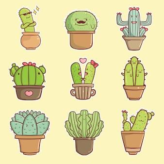 Ręcznie rysowane kawaii kaktus zestaw kolekcja ilustracji premium