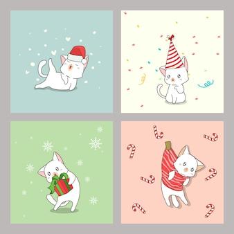Ręcznie rysowane kawaii karty kota w boże narodzenie