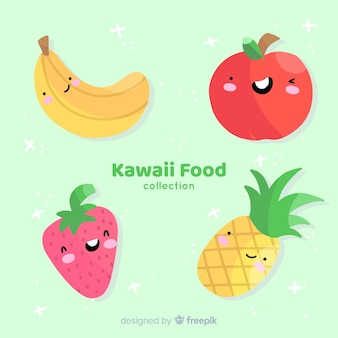 Ręcznie rysowane kawaii kolekcja żywności