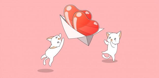 Ręcznie rysowane kawaii koty grają w serce na papierowym samolocie