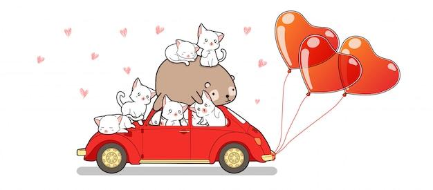 Ręcznie rysowane kawaii koty i panda w samochodzie z balonami serca