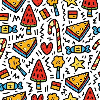 Ręcznie rysowane kawaii kreskówka jedzenie doodle wzór projektowania