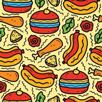 Ręcznie rysowane kawaii kreskówka jedzenie doodle wzór projektu
