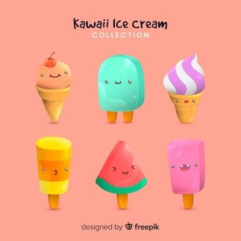 Ręcznie rysowane kawaii lody kolekcja