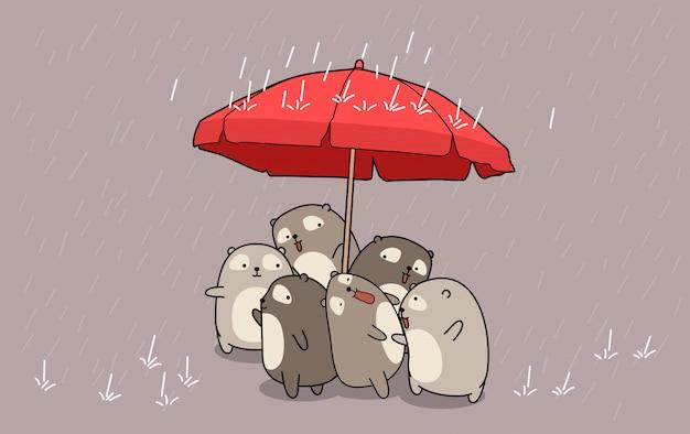 Ręcznie rysowane kawaii niedźwiedzie w porze deszczowej