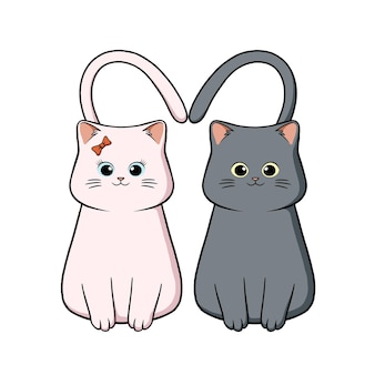 Ręcznie rysowane kawaii para kotów