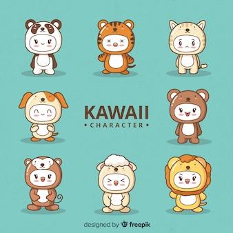 Ręcznie rysowane kawaii przebrany zbiór znaków