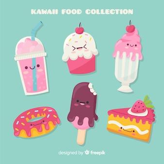 Ręcznie rysowane kawaii słodki pakiet żywności