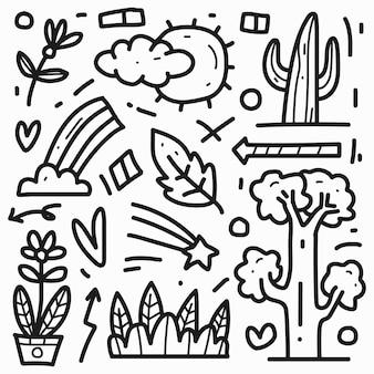 Ręcznie rysowane kawaii streszczenie doodle projekt