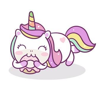 Ręcznie rysowane kawaii unicorn jedzą pączki