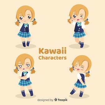 Ręcznie rysowane kawaii uśmiechnięte dziewczyny kolekcja