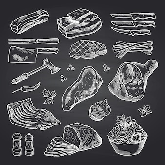 Ręcznie rysowane kawałki mięsa monochromatyczne na czarnej tablicy. mięso i jedzenie, wołowina szkic i wieprzowina ilustracja