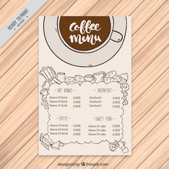 Ręcznie rysowane kawy menu rocznik