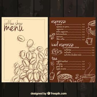 Ręcznie rysowane kawy menu
