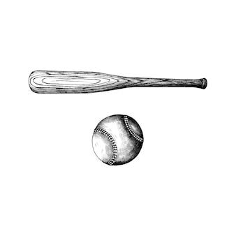 Ręcznie rysowane kij baseballowy i piłkę