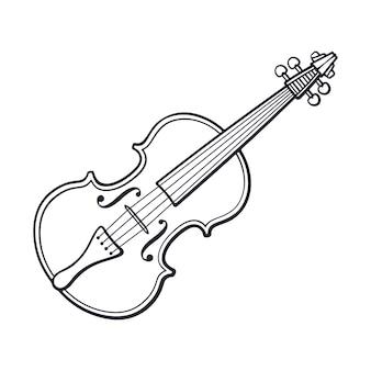 Ręcznie rysowane klasyczne skrzypce bez łuku instrument muzyczny z łukiem strunowym ilustracja wektorowa