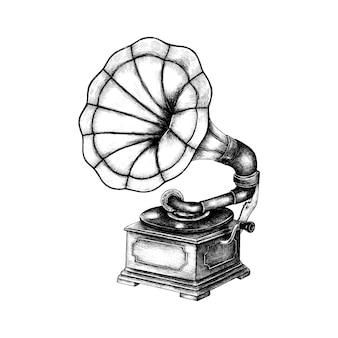 Ręcznie rysowane klasyczny gramofon