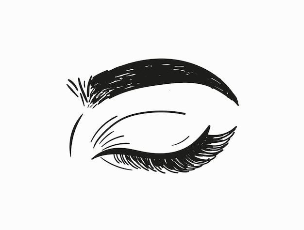 Ręcznie rysowane kobiece oko zamknięte. ilustracja wektorowa.