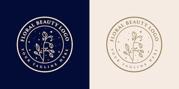 Ręcznie rysowane kobiece piękno i kwiatowy botaniczny szablon logo do pielęgnacji skóry i włosów salonu spa