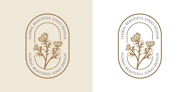 Ręcznie rysowane kobiece piękno i ramka z kwiatowym logo botanicznym do pielęgnacji włosów w salonie spa