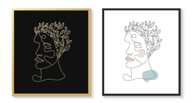 Ręcznie rysowane kobiece piękno kobieta twarz głowa minimalistyczny kwiatowy portret sztuki linii