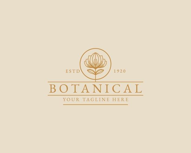 Ręcznie rysowane kobiece piękno minimalne kwiatowe logo botaniczne dla marki salon spa do pielęgnacji włosów