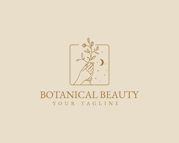 Ręcznie rysowane kobiece piękno minimalny kwiatowy botaniczny logo han spa salon skóra pielęgnacja włosów marka