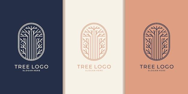 Ręcznie rysowane kobiecy i nowoczesny projekt logo szablonu drzewa