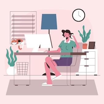 Ręcznie rysowane kobieta pracująca w domu