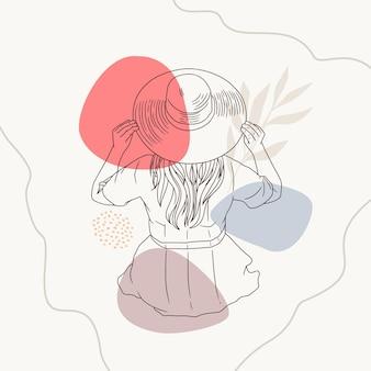 Ręcznie rysowane kobieta relaksująca się w słomkowym kapeluszu w stylu sztuki linii