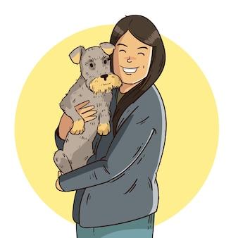 Ręcznie rysowane kobieta trzyma psa