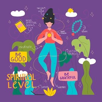 Ręcznie rysowane kobieta wykazująca duchowy poziom osobowości.