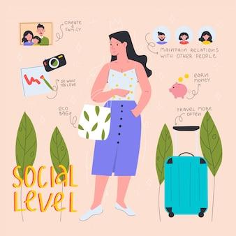 Ręcznie rysowane kobieta wykazująca poziom społeczny. płaska ilustracja.