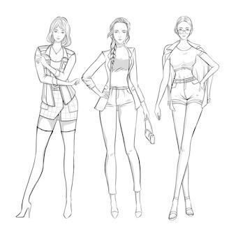 Ręcznie rysowane kobiety w modne ubrania