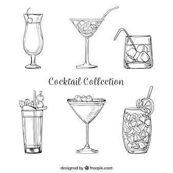 Ręcznie rysowane koktajl kolekcji w szkicowy styl